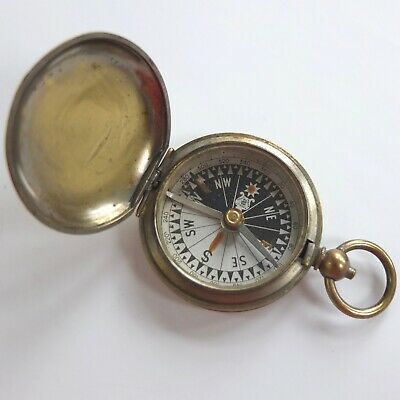 VINTAGE FRANCIS BARKER HUNTER CASED POCKET COMPASS SINGER'S PATENT BRASS c.1925