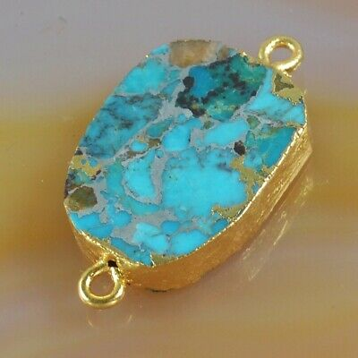 Blue Copper Turquoise Connector Gold Plated B077730