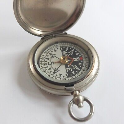 ANTIQUE FRANCIS BARKER HUNTER CASED RGS POCKET COMPASS BRASS c.1907