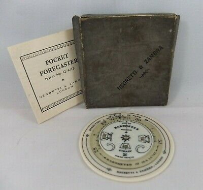 Negretti & Zambra Celluloid Pocket Weather Forecaster, Orig Box & Instructions