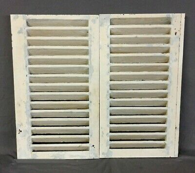 Small Pair Antique House Window Wood Louvered Shutters 16X28 Shabby Vtg 205-19C