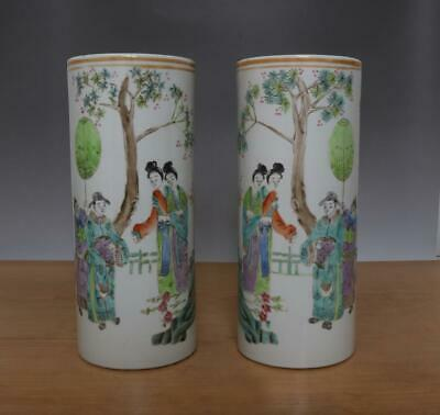 Two Tongzhi Signed Antique Chinese Famille Rose Porcelain Vase w/Figures