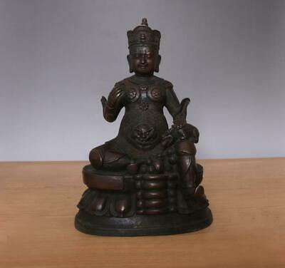 26CM Large Fine Antique Chinese Bronze or Copper Statue Buddha Vaisravana