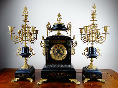 Antique French Mantel Clock Garniture Black Slate & Marble with Candelabra c1890