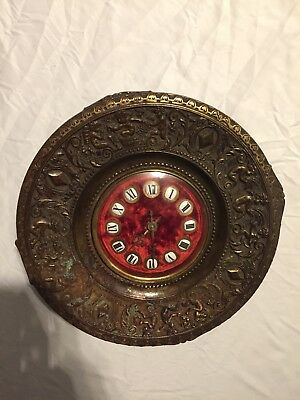 "Rare Antique Victorian Style Red Velvet Brass 12"" Clock Ansonia ? 1800s Ornate"