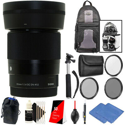 Sigma 30mm f/1.4 DC DN Contemporary Lens for Sony E + All You Need Accessories