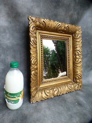 """A LOVELY OLD FLORENTINE FRAMED WALL MIRROR WITH GESSO ACANTHUS PATTERN 14"""" x 16"""""""