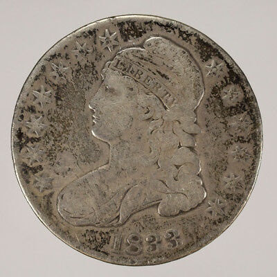 1833 50c CAPPED BUST HALF DOLLAR - LETTERED EDGE - LOT#H027