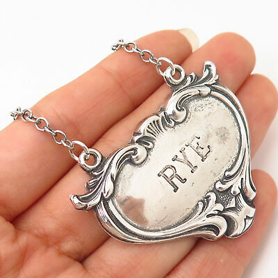 """925 Sterling Silver Antique """"Rye"""" Repousse Bottle Tag 7 3/4"""""""