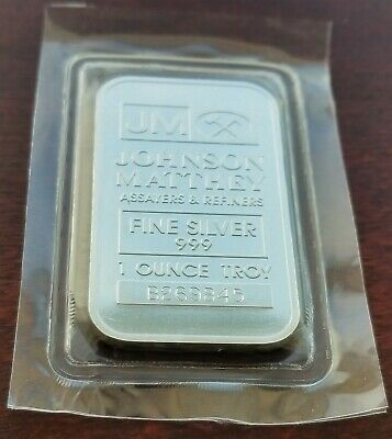 J Matthey JM - 1 troy oz .999 Silver Bullion Bar in Plastic Capsule B269845  M56