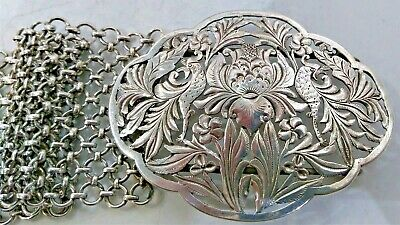 Antique Silver Belt And Buckle, Chinese Straits/malay/nonya, Early 20Th Century