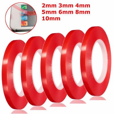 50m Double Sided Super Sticky Clear Tape Red Strong Craft DIY Roll 2-10mm N5F0Q