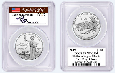 2019 W Proof $100 Platinum Eagle liberty PCGS PF70DCAM First Day of Issue