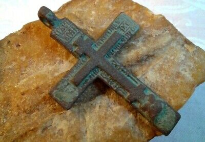"UNIQUE LARGE 18-19th CENTURY ORTHODOX ""OLD BELIEVERS"" CROSS with PRAYER TEXT"