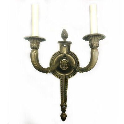 Large Antique French Empire Brass Double Arm Sconce