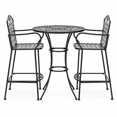 3 PC Wrought Iron Tall Bistro Dining Table 2 Chairs Stool Outdoor Furniture Set