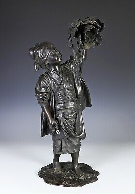 Beautiful Large Antique Japanese Bronze Statue of Woman Cutting Flowers Signed