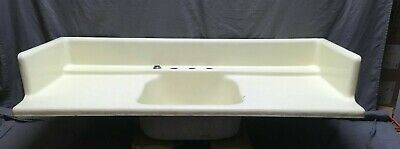 Antique Cast Iron Butter Cream Porcelain Kitchen Farm Sink Single Basin 32-19E
