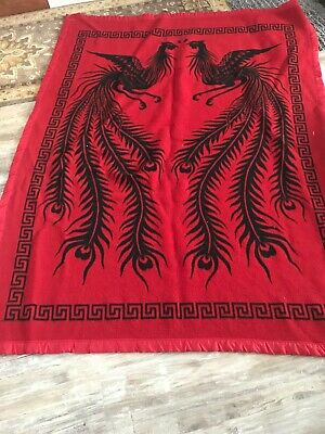 "Vintage Chinese Print  Heavy Fleece Blanket Red And Black 58""x 76"""