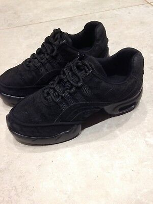 Childrens Pair Black Jazz Shoes Uk Size 1 Euro 33 Lace Up Roch Valley Split Sole