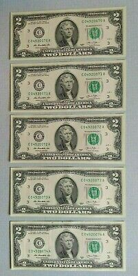 Lot of 5 UNCIRCULATED Sequential Two Dollar Bills     Gem Crisp or better!!