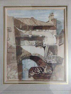 Antique original watercolor sityscape with canal signed by Brol late 19th Cent