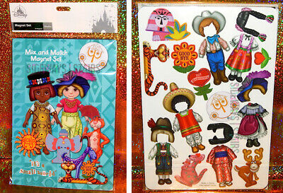 IT'S A SMALL WORLD MAGNET SET mix & match 39 pieces doll dress up Disney Parks
