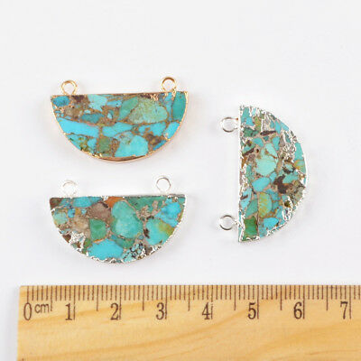 1Pcs Gold Silver Plated Geometric Moon Blue Copper Turquoise Connector HG1689