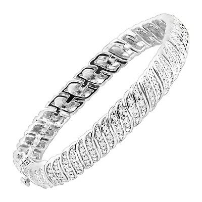 1/4 ct Diamond 'S' Link Tennis Bracelet in Sterling Silver-Plated Brass