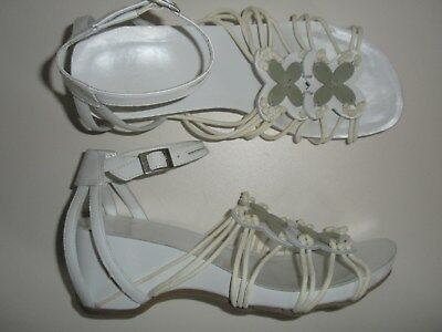 22d88b85237 CLARKS LADIES WOMENS WHITE Leather Floral Wedge Heel Sandals Size ...