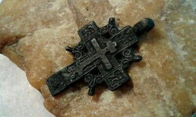 "RARE ANTIQUE 18-19th CENTURY ORTHODOX ""OLD BELIEVERS"" SMALLER ORNATE ""SUN"" CROSS"