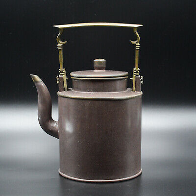 Antique 19th Qing Chinese Yixing Cylindrical Teapot Brass Handle And Mount
