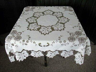 """ANTIQUE MADEIRA TABLECLOTH-HAND EMBROIDERED ECRU-48""""sq."""