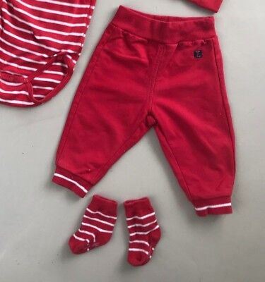 Polarn O Pyret Red Joggers Baby Trousers 4 6 Months Striped Socks