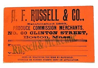 Antique Label for A.F. RUSSELL & CO. Boston, Mass