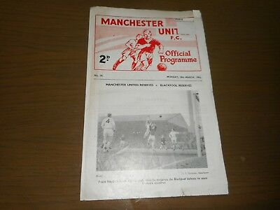 MANCHESTER UNITED  reserves  v  WOLVERHAMPTON WANDERERS  res  1962/3 ~ MAR 18th