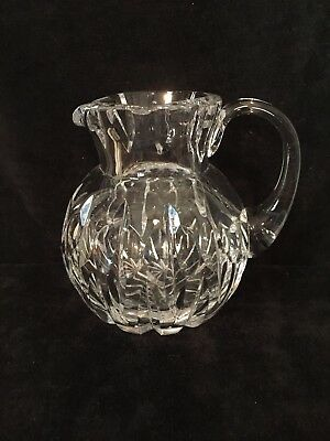 """Petite cut  crystal pitcher 6x5.5"""" good vintage quality / very heavy"""