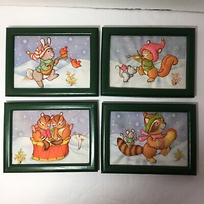 "Set of 4 Winter Animals Finished and Framed Stitch & Stuff Creative Circle 5""x7"""
