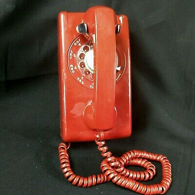 Vintage Red Western Electric Bell System Rotary Dial Wall Telephone 554