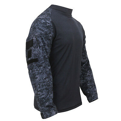Military Style Combat Shirt BLUE CAMO Paintball US Navy USAF USCG Police Hunting