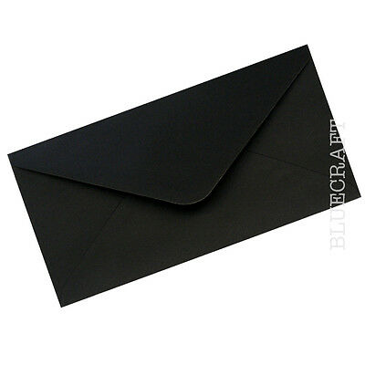 500 box x DL Black Premium Gummed Envelopes 110 x 220mm 100gsm - 4 x 8 inches