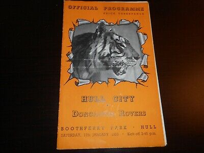 HULL CITY  v  DONCASTER ROVERS  1952/3  ~  JANUARY 17th   VINTAGE   *FREE POST*