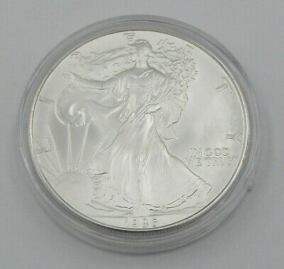 1986 Uncirculated 1 oz Silver American Eagle Coin In Capsule - Item# 8818