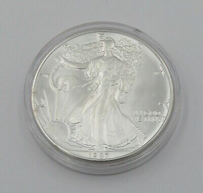 1987 Uncirculated 1 oz Silver American Eagle Coin In Capsule - Item# 8822