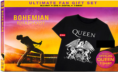 Bohemian Rhapsody Ultimate Fan Gift Set Blu-ray+DVD+Digital+T-shirt Queen