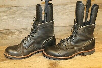 Red Wing Vtg Iron Ranger Mens Black Cap Toe Leather Lace Up Work Boots Sz 9.5 D