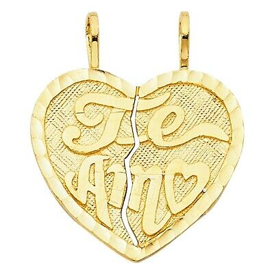 14K Yellow Gold Teamo Heart Pendant Te Amo Charm Breakable Solid 20X22