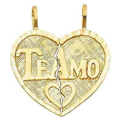 14K Yellow Gold Teamo Heart Pendant 2Pieces Te Amo Charm Breakable solid 20X22