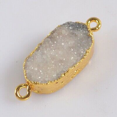 Natural Agate Druzy Geode Connector Gold Plated H130708