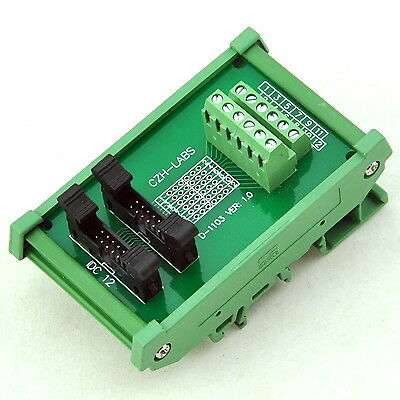 DIN Rail Mount IDC-12 2x6pins 2.0mm Dual Male Header Interface Module.